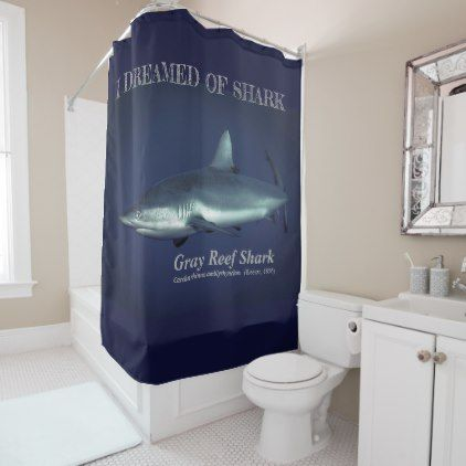 Grey Reef Shark Shower Curtain - animal gift ideas animals and pets diy customize