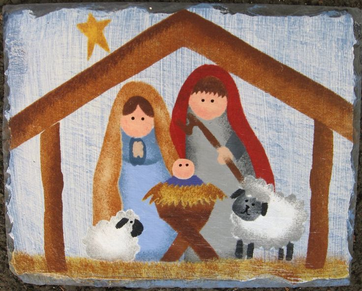 Handpainted Nativity Slate Sign by FromMyHandSlates on Etsy