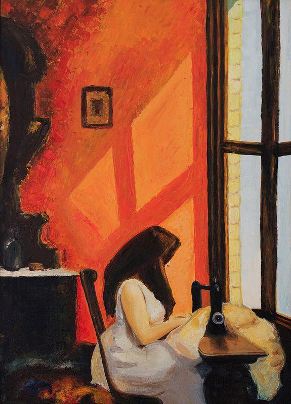 "Oil Painting Reproduction Edward Hopper ""Girl at a Sewing Machine"" (50*70 oil/canvas/palette knife, 2014) Копия картины c репродукции Эдварда Хоппера ""Девушка за швейной машинкой"" 50*70, холст/масло/мастихин, 2014г © chuprovart"