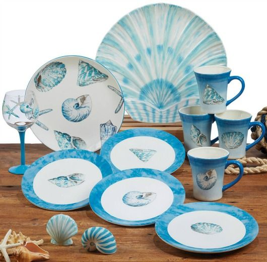 Beachy Blue Sea Shell Dinnerware | Plates and Mugs.... http://www.beachblissdesigns.com/2016/11/blue-sea-shell-dinnerware-plates.html