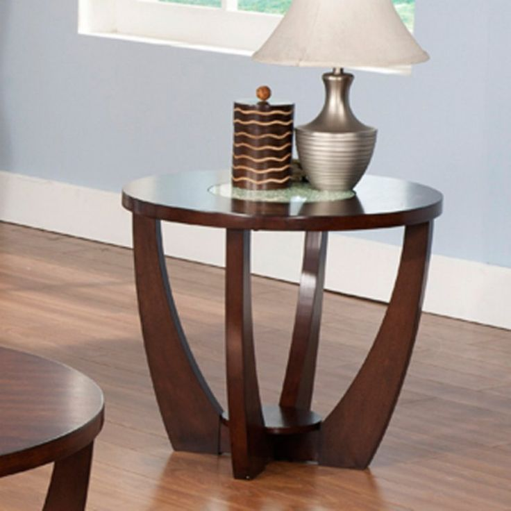 High Quality Steve Silver Rafael Round Cherry Wood And Glass End Table   RF300E