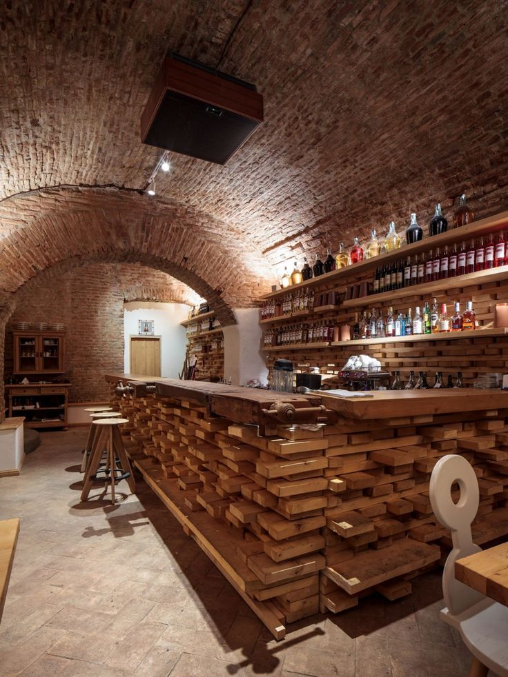 Restaurant, Romanian Bar Restaurant Design With Wooden Table Small Round Stools Plus Exposed Brick Wall Ideas: Elegant Lacrimi Si Sfinti by ...