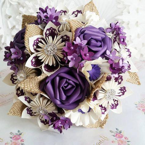 Flor del ramo de flores hermoso hessian de flores de ciruelo morado uva cadbury rosa origami kusudama deja tema diamante alternativos de papel