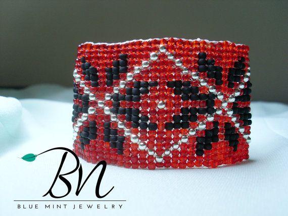 Beaded braceletpopular winter ornament by LoretaBlueMint on Etsy