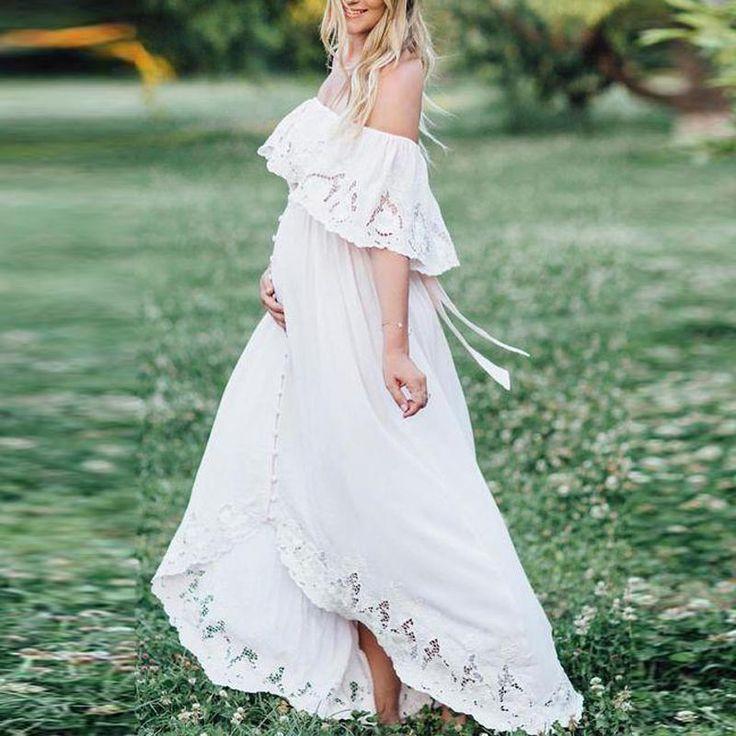 Mutterschaft Solid White Lace Off Schulter Kleid