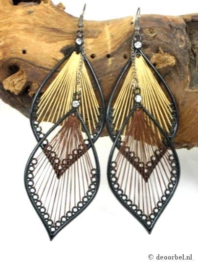 Mooie zwarte met bruine draad oorbellen (hanger) 11,5 cm voor maar 6,25 bij Deoorbel.nl    http://www.deoorbel.nl/mooie-zwarte-met-bruine-draad-oorbellen-hanger-115-cm-p-9253.html