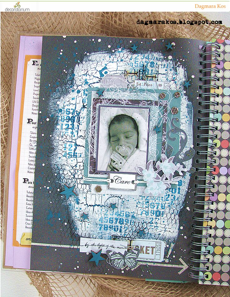 My son first photo, Smash Book, mixedmedia, mixed media, scrapbooking, Deco Art Media, Prima Marketing, Ranger Ink, Kaisercraft