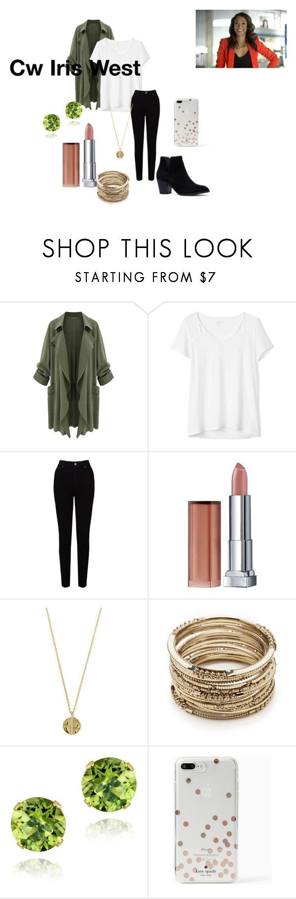 """""""Iris West Allen"""" by aisaacs19-i ❤ liked on Polyvore featuring Gap, EAST, Maybelline, Senso, Sole Society, Glitzy Rocks, Kate Spade, women, cw and fashionset"""