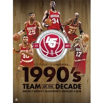 Houston Rockets 1990's All Decade Team - Official Houston Rockets NBA Licensed Merchandise