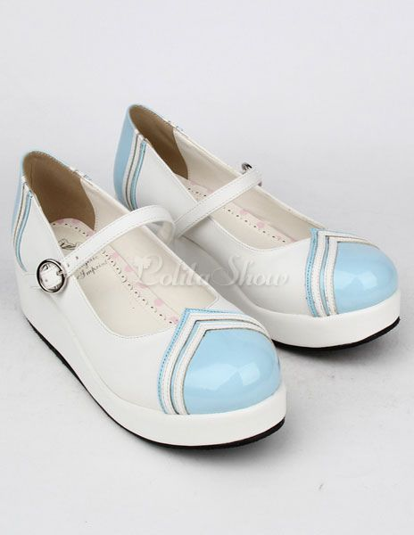 Light Blue PU Platform Lolita Shoes for Girls - Lolitashow.com