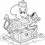 Coloriage mer : la pieuvre au trésor - Famili.fr