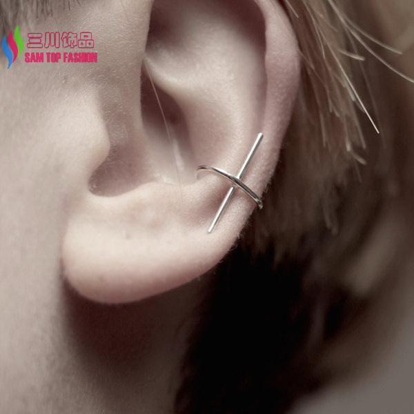 1piece   cool fashion simplicity designed copper metal stick ear auricle non-piercing ear cuff earrings brinco de meninas