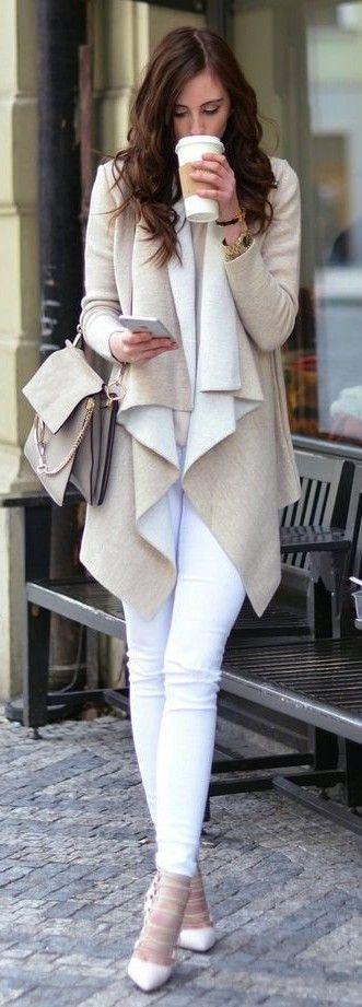 #Street #Fashion | Beige And White Waterfall Cardi, White Denim, White Pumps |Vogue Haus                                                                             Source