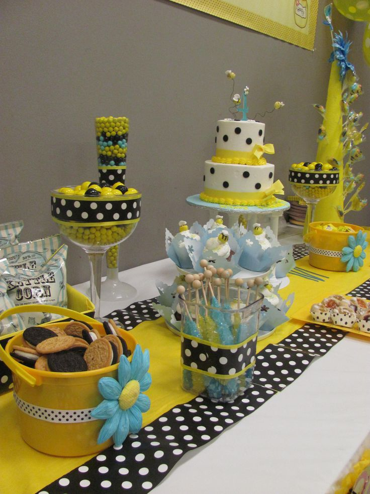 Adorable Dessert Table For Bumble Bee Themed Birthday Party. Love The Touch  Of Sky Blue
