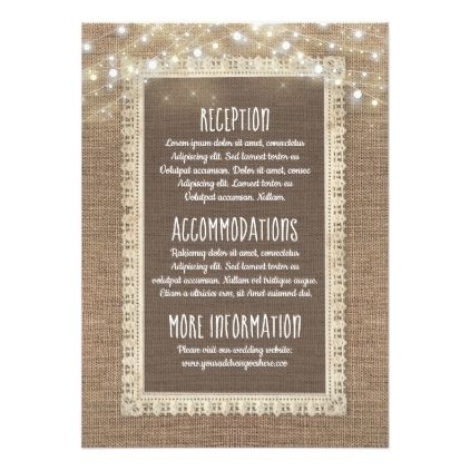 Burlap and String Lights Wedding Information Guest Card - guest gifts gift idea diy personalize