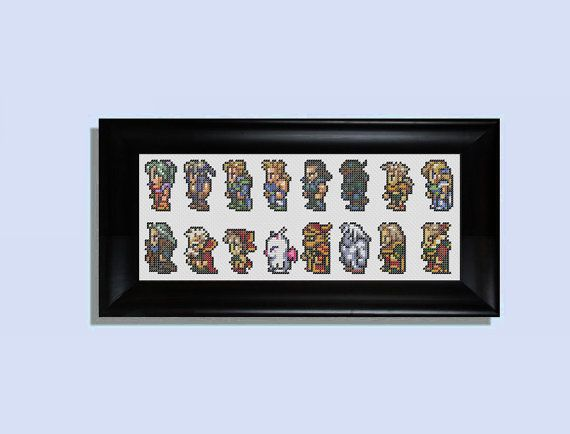 Final Fantasy 3 SNES Characters | ... character sheet cross stitch kit - (Final Fantasy III for the SNES