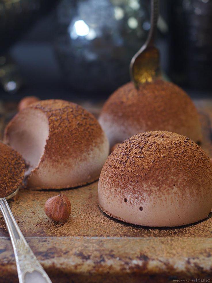 raw vegan (tartufo) chocolate ice cream with hazelnuts, dairy-free, refined sugar-free
