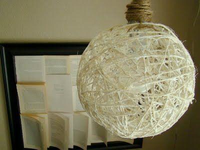 DIY Sisal Hanging Lamp: Hanging Lights, Ball Hanging, Crafts Rooms, Ball Lights, Yarns Ball, Diy Sisal, Lamps Diy, Sisal Hanging, Hanging Lamps