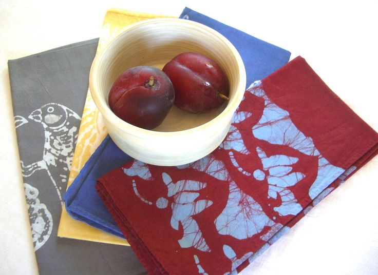 eclectic napkin set. gray. yellow. blue. red by margotbianca on Etsy https://www.etsy.com/listing/76307549/eclectic-napkin-set-gray-yellow-blue-red