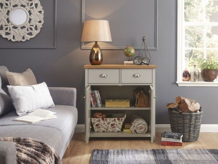 Wooden Sideboard Cabinet Vintage Grey Cupboard Small Rustic Storage Furniture