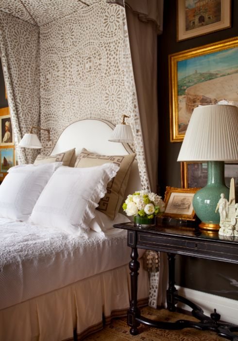 Room of the Day: brown bedroom with tunning fabric, art, antiques, lamps by ALEXA HAMPTON