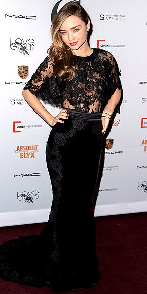 MIRANDA KERR Her makeup may be barely there at the Mademoiselle C premiere in N.Y.C., but the supermodel's sheer lace top and fishtail skirt (both Dolce & Gabbana) pack all the attention-grabbing power necessary.