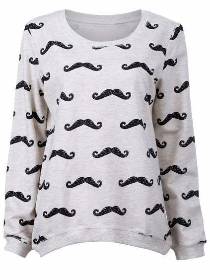 Light Grey Multiple Black Moustache Print Sweatshirt - Sheinside.com