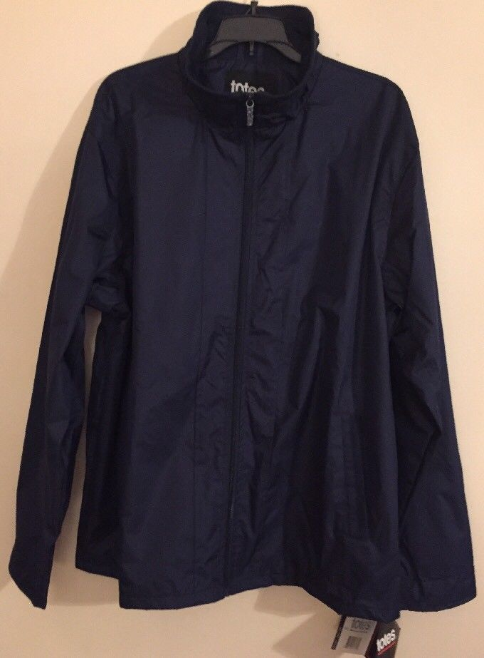 NEW W TAG Women's Totes L Navy Blue Water Resistant Jacket Coat Pockets Zip Up  | eBay