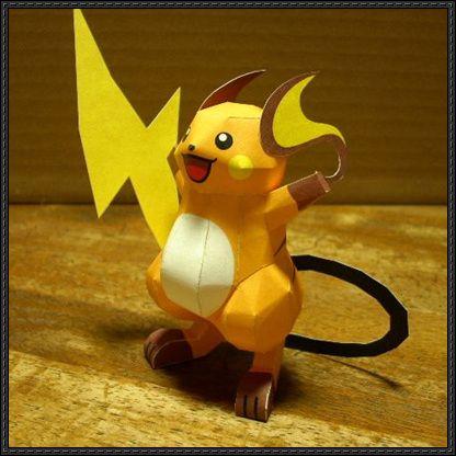 Pokemon - Raichu Ver.5 Free Papercraft Download - http://www.papercraftsquare.com/pokemon-raichu-ver-5-free-papercraft-download.html