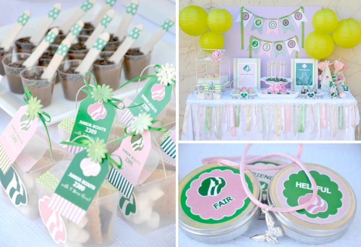 @Michelle Lewis Girl Scouts themed ceremony birthday party via Kara's Party Ideas karaspartyideas.com