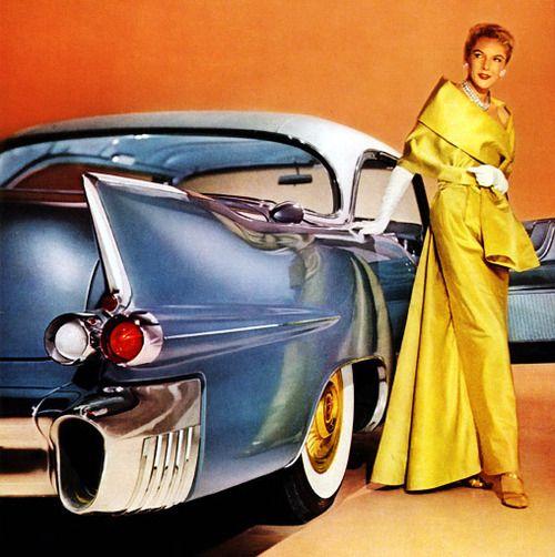 Model with a 1956Cadillac Eldorado Seville.