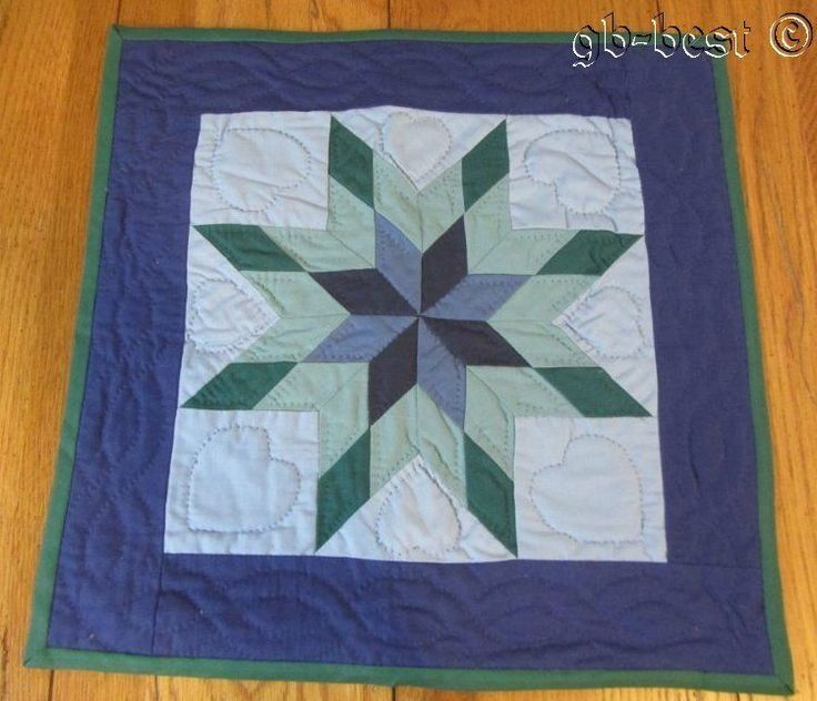 """PA Amish Star of Bethlehem TABLE Doll Quilt Blue Green 16 x 16"""""""