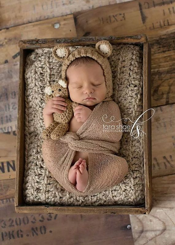 Newborn Bonnet and Teddy Bear Set Ivory or Beige by bluestonesky