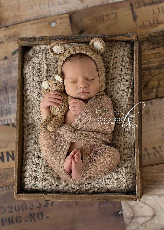 Newborn Bonnet and Teddy Bear Set Ivory or Beige by bluestonesky