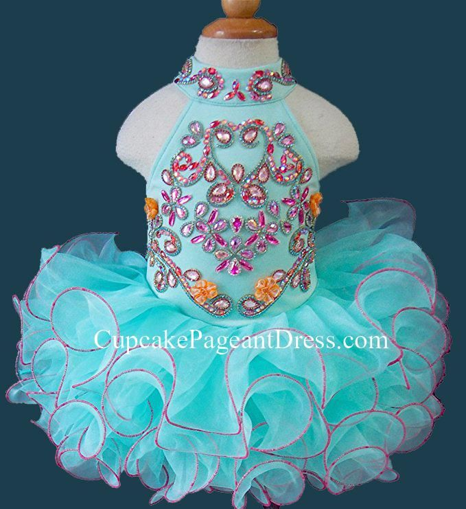 Infant/toddler/baby/children/kids Girl's Glitz Pageant Dress/Natural Pageant Dress/Cupcake Pageant Dress/Baby Doll Pageant Dress