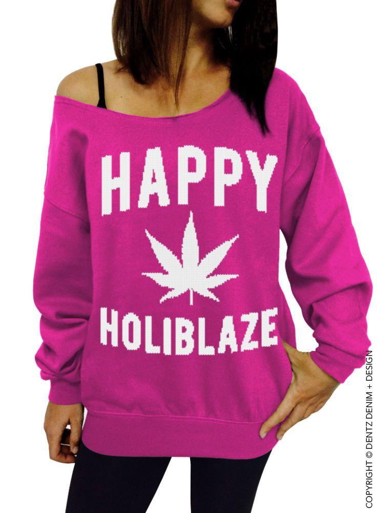 Happy Holiblaze - Pink/White Slouchy Sweatshirt - Christmas 420 Holiday Sweater