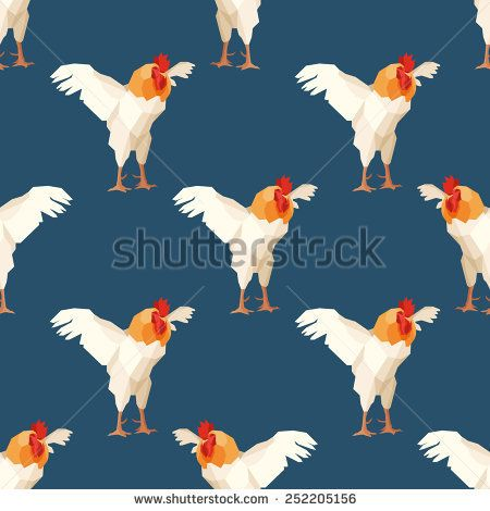 Seamless pattern with rooster 1 #vectorpattern #patterndesign #seamlesspattern #animals #geometric