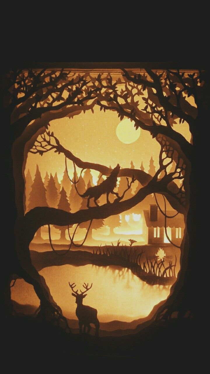 Cabin in the woods  #papercut #shadowboxlighting #cabininthewoods #paperart #shadowbox