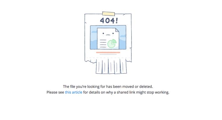 404 Page from Dropbox | PatternTap | ZURB Library