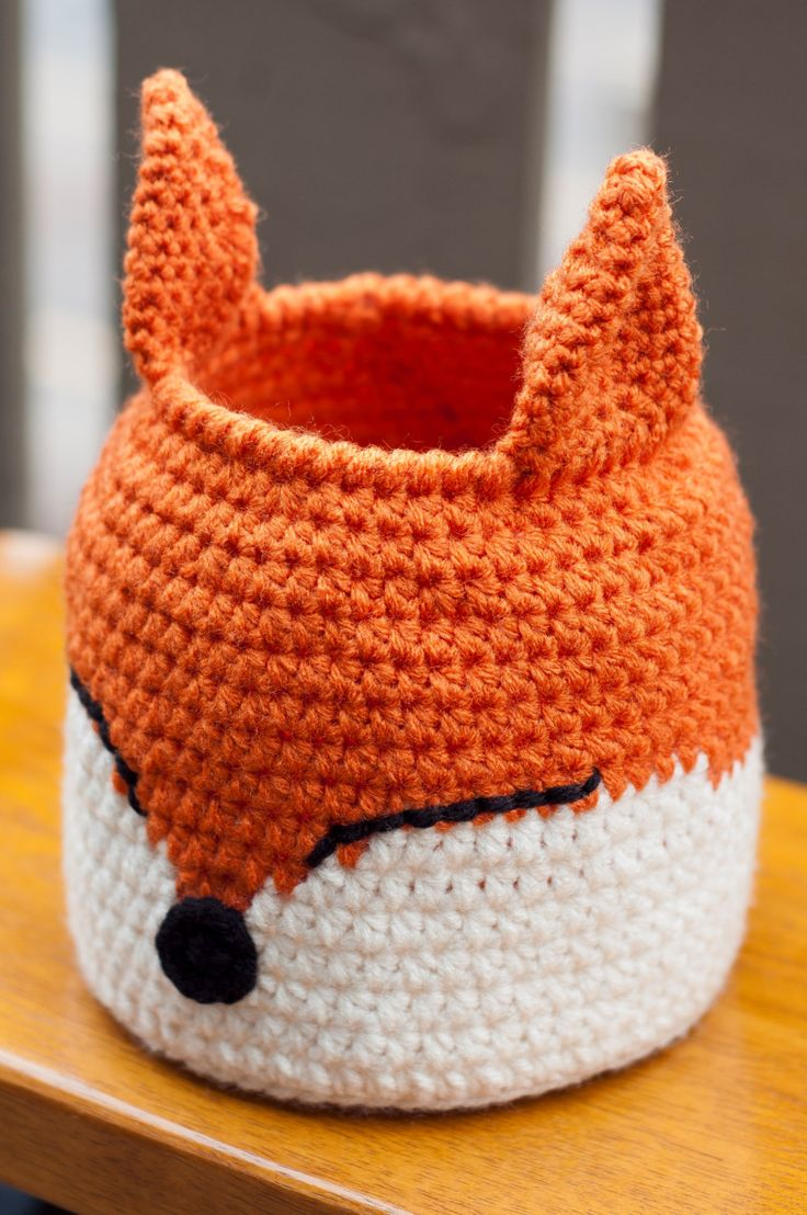 Crochet Fox Basket                                                                                                                                                                                 Mais
