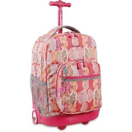Pink Forest Kids Rolling Backpack Recessed 3 Stage Locking Handle Polyester