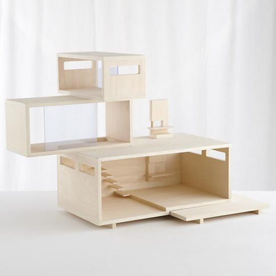 Land of Nod Exclusive Dollhouse – Modern Natural Wood Doll House – Modern Wood Toys | Small for Big