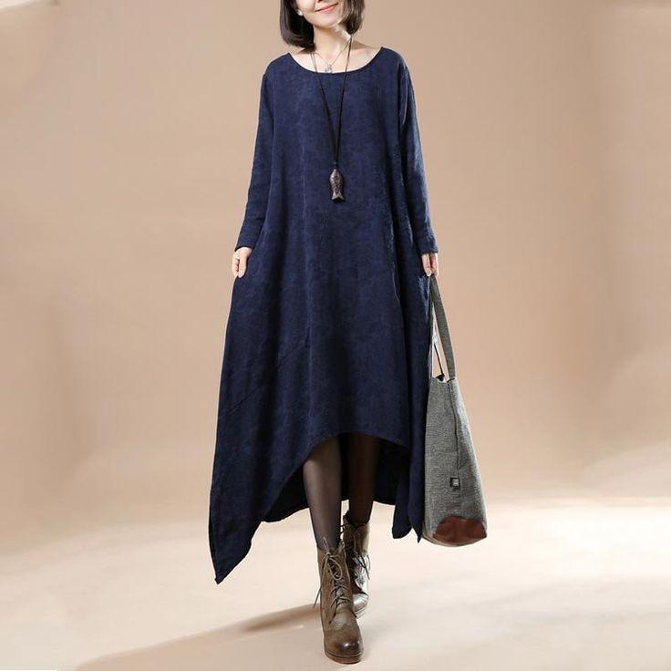 Women Autumn Round Neck Long Sleeve Cotton Linen Dresses
