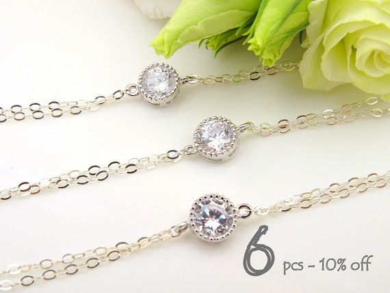 Crystal Bracelet Set of 6 10% Off, Bridal Jewelry, Cubic Zirconia, Unique Bridesmaid Gift, Special Occasion, Lux Bracelet, Wedding Jewelry