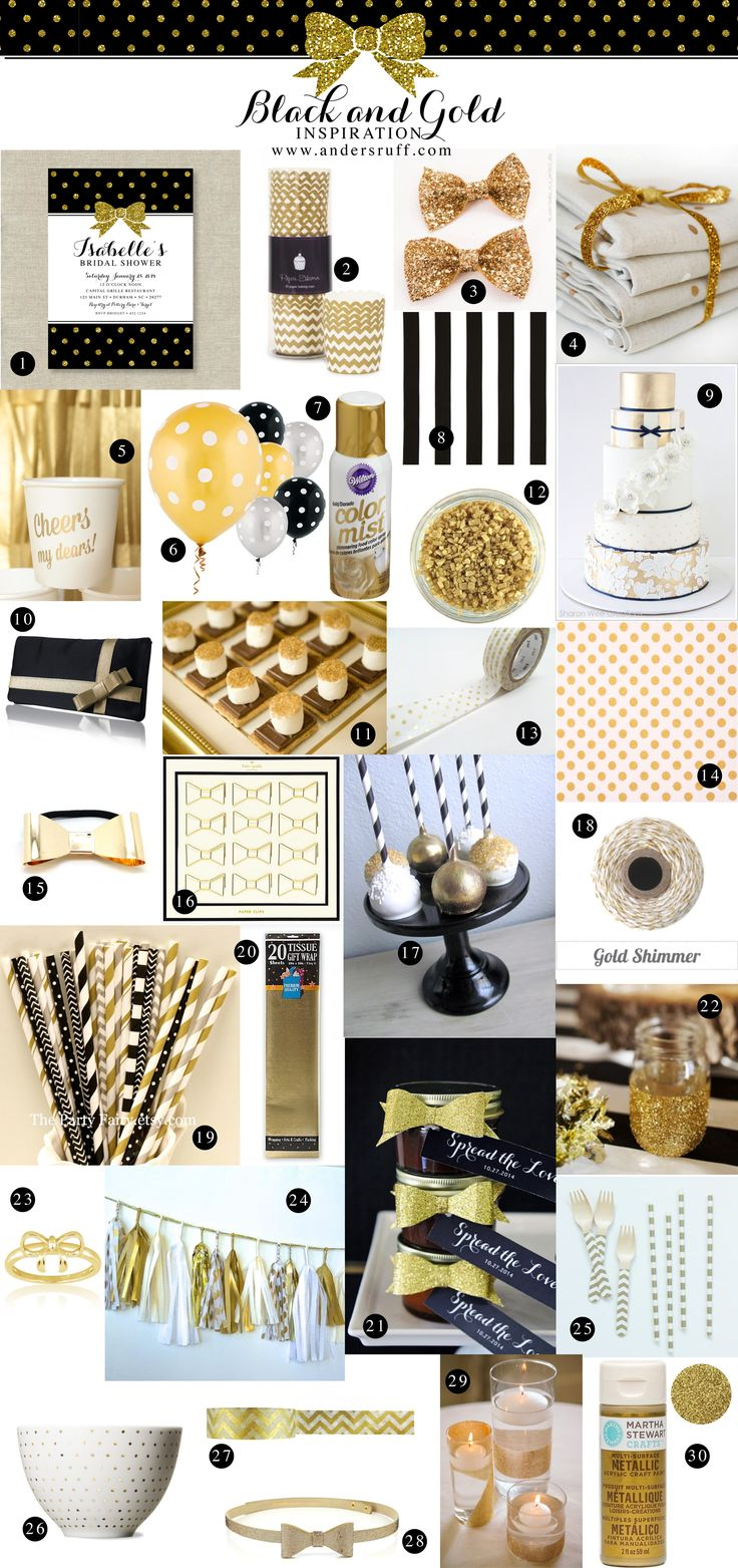 One of my favorite color schemes- simple, bold, glamorous. Gold, black, and bows inspiration board.