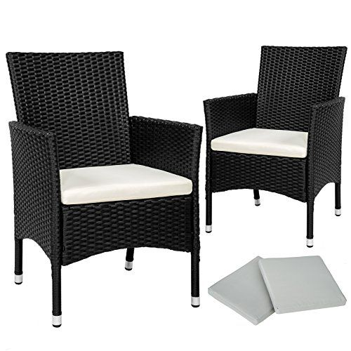 TecTake 2 x Poly rattan garden chairs set   cushions   2 sets for exchanging the upholstery   stainless steel screws - different colours -