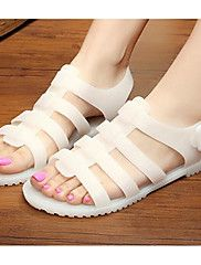 Women's+Sandals+Comfort+PU+Rubber+Spring+Casual+Comfort+Black+White+Flat+–+CAD+$+99.08