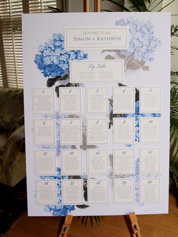 Hydrangea Wedding Seating Plan. Our beautiful Hydrangea Wedding stationery adds real impact for your special day! Also supplied for this Blue Hydrangea Wedding Theme were Wedding Invitations, RSVP Cards, Order of Service Booklets, Place Name Cards, Table Numbers, and Menu's. Also available in Purple and Pink Hydrangea Wedding Stationery.