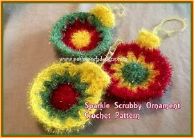Make These Sparkle Scrubby Ornaments  for a gift,   hang them on your tree   or clean the dishes!     These Little Scrubbies measure abo...