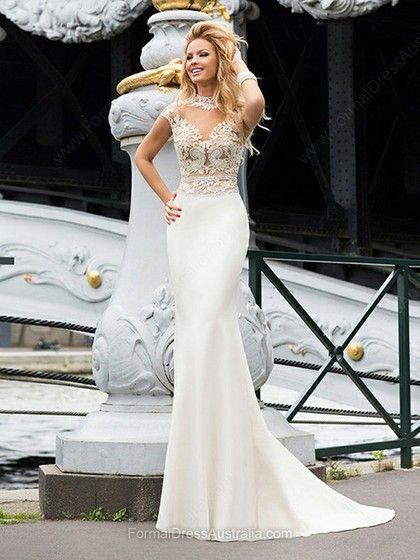 Trumpet/Mermaid Tulle Silk-like Satin Scoop Neck Beading Court Train Formal Dresses -AU$220.29